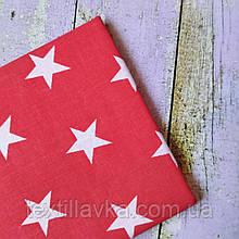 Ткань хлопок для рукоделия  звездочки 2см на красном
