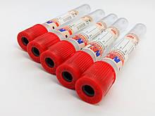Пробірка вакуумна для забору крові «MEDRYNOK», 6 мл,13х100 мм, з активатором згортання, з червоною кришкою