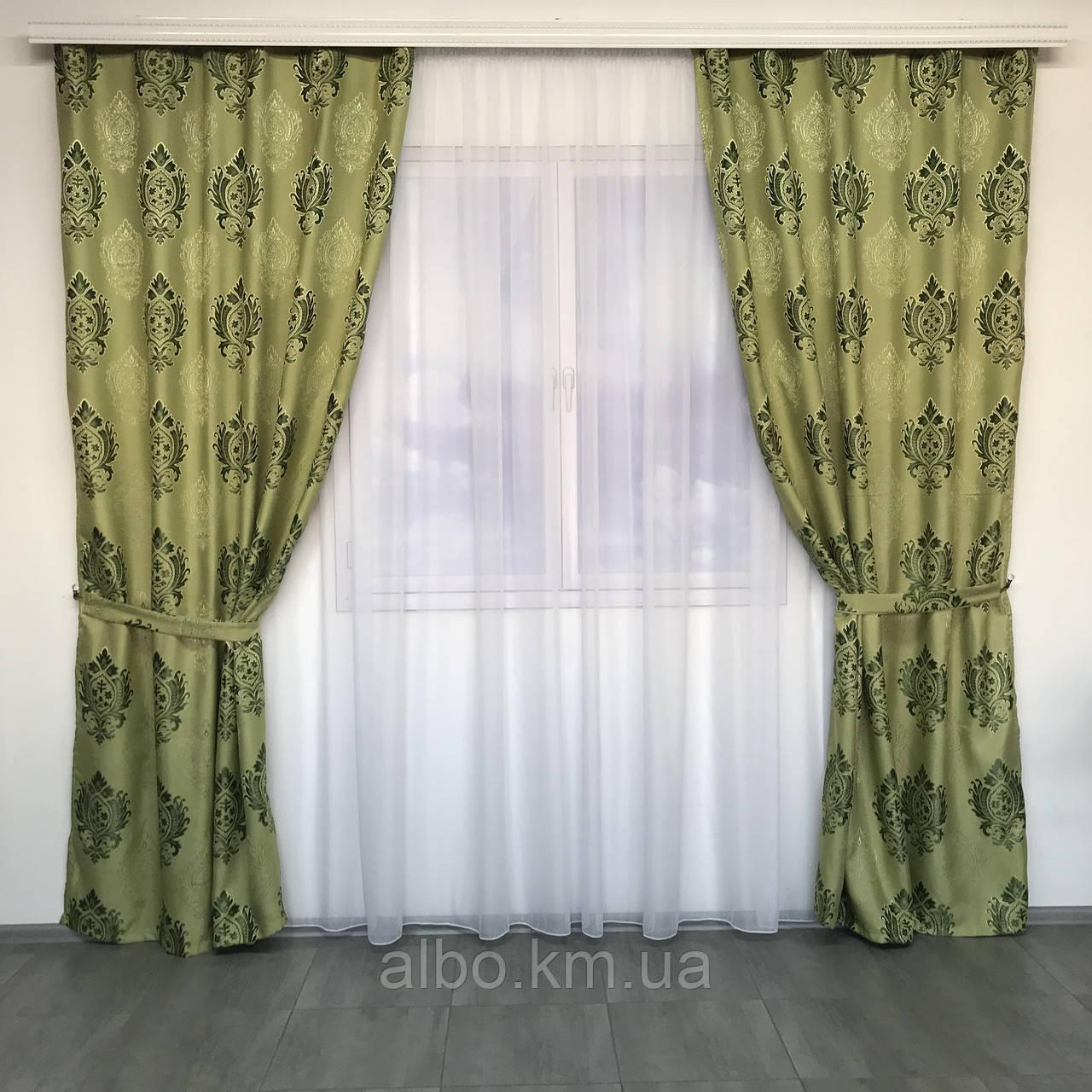 Изысканные шторы льняные 150x270 cm (2 шт) ALBO Зеленые (SH-M11-4)