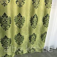 Вишукані штори лляні 150x270 cm (2 шт) ALBO Зелені (SH-M11-4), фото 4
