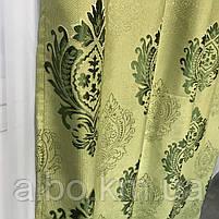 Вишукані штори лляні 150x270 cm (2 шт) ALBO Зелені (SH-M11-4), фото 5