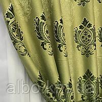 Вишукані штори лляні 150x270 cm (2 шт) ALBO Зелені (SH-M11-4), фото 8