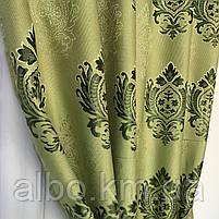 Вишукані штори лляні 150x270 cm (2 шт) ALBO Зелені (SH-M11-4), фото 9