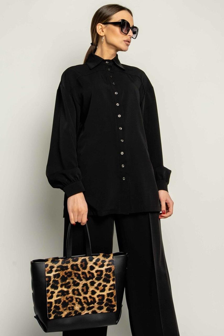 Сорочка жіноча, колір: чорний, розмір: 42, 44, 46, 48, 50, 52