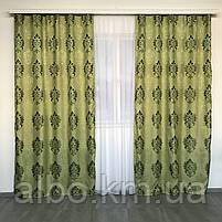 Вишукані штори лляні 150x270 cm (2 шт) ALBO Зелені (SH-M11-4), фото 10