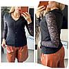 Женская стильная кофточка на пуговицах с гипюровым рукавом Батал