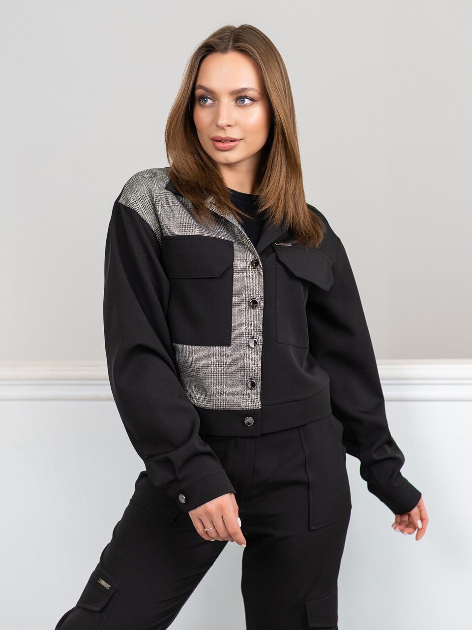 Піджак жіночий, колір: чорний+сірий, розмір: 42-44(XS-S), 44-46(S-M), 46-48(M-L), 48-50(L-XL)