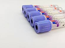 Пробірка вакуумна для забору крові «MEDRYNOK», 2 мл,EDTA K3, 13х75 мм, стерильна, з бузковою кришкою