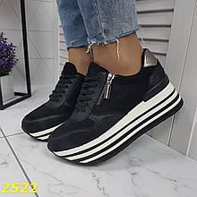 Кроссовки черные на высокой платформе 36 р. (2522)