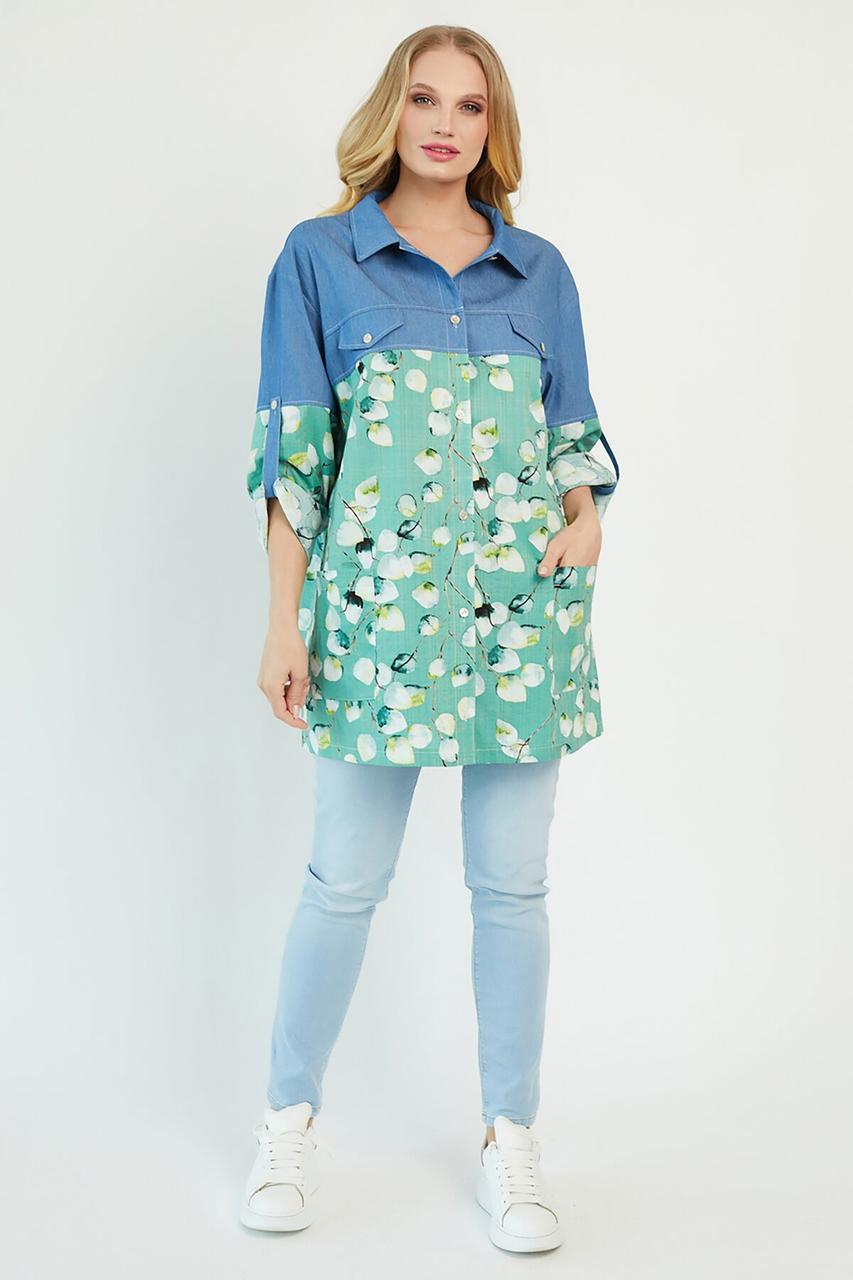 Рубашка женская, цвет: оливковый, размер: 54, 56, 58, 60
