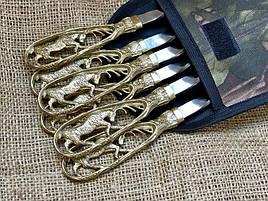 """Шампура подарочные с бронзовыми ручками """"Лоси"""", в тканевом чехле"""