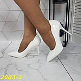 Класичні туфлі білі на невисокому каблуці 36, 38, 39 р. (2083-3), фото 4