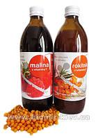 Сок малины + сок облепихи