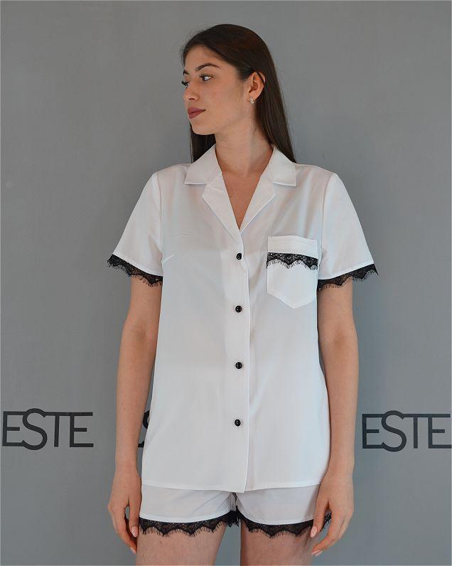 Белая пижама рубашка шорты с кружевом Este 226.
