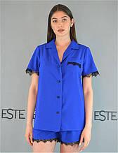Пижама рубашка шорты с кружевом Este 226-ярко-синяя.