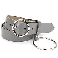Ремень женский кожаный серый с кольцом PS-3534 grey (110 см), фото 1