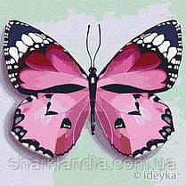 Картина по номерам Идейка  Розовая бабочка 25х25 KHO4209
