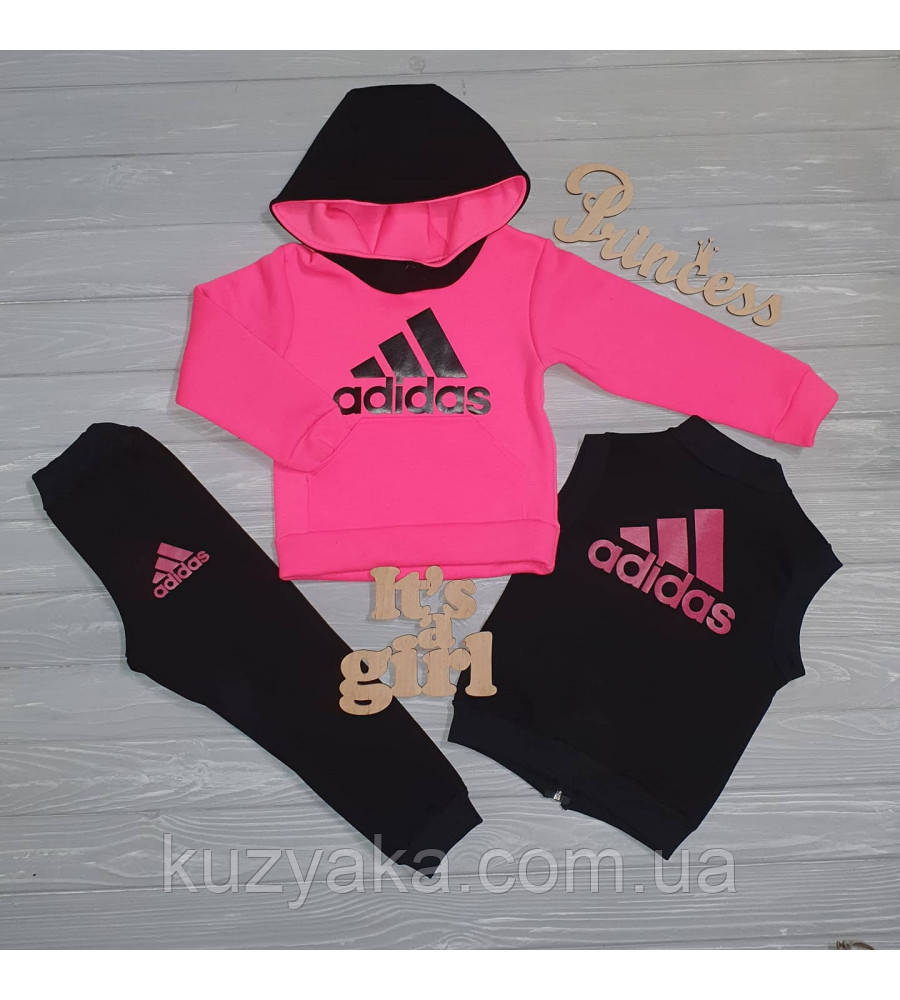 Детский теплый спортивный костюм тройка Неон-2 для девочки на рост 80-106 см