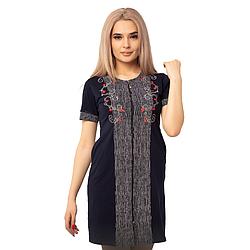 Жіночий халат бавовняний на блискавці з квітковими візерунками DI Color №6439, р. 2XL-5XL
