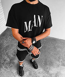 Man Мужской спортивный костюм черный лето/весна. Футболка+шорты демисезонный спорт комплект
