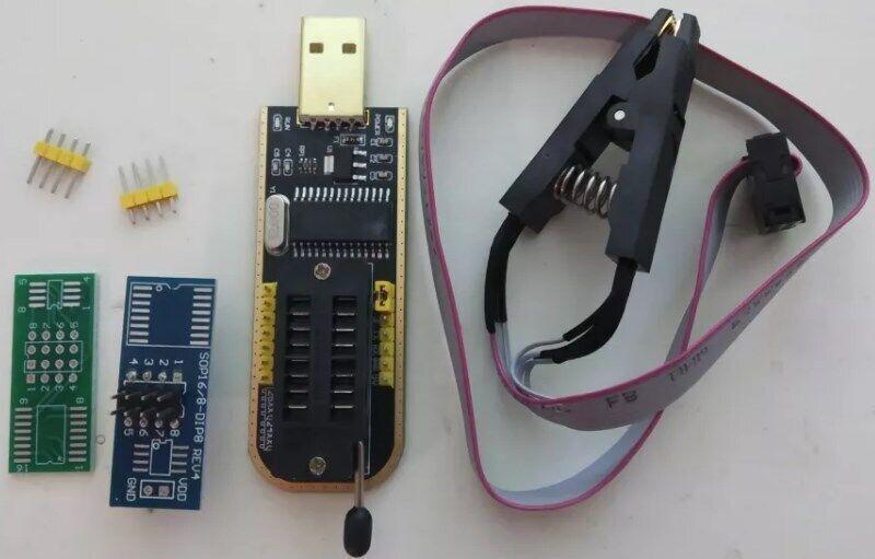 Програматор Flash EEPROM, CH341a з прищіпкою адаптером