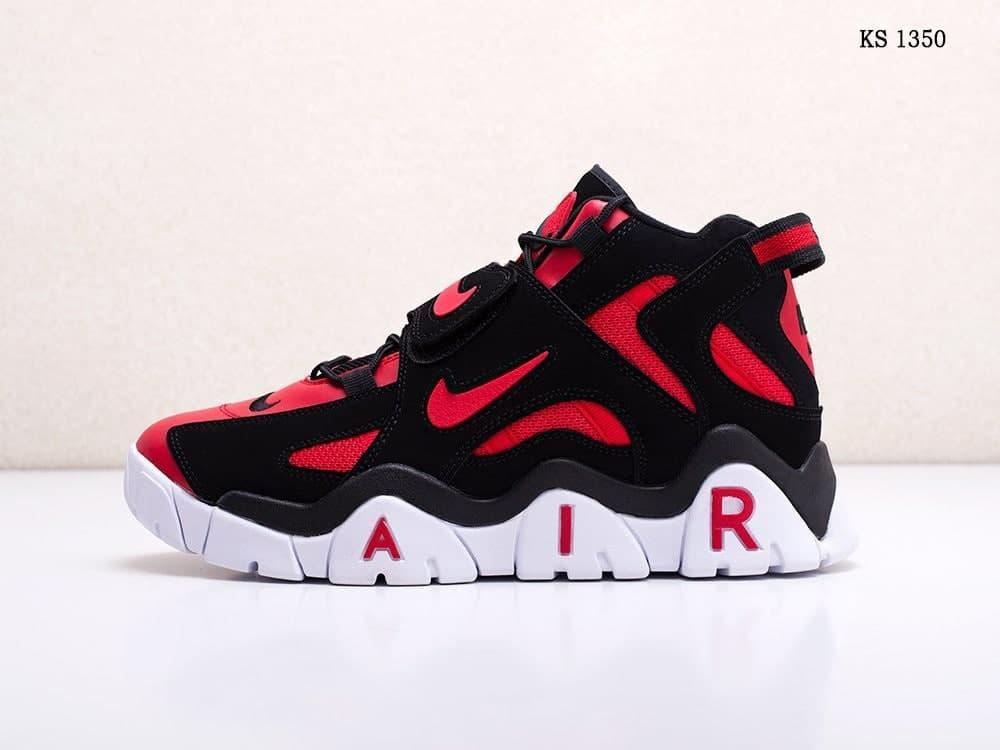 Мужские кроссовки Nike Air Barrage Mid (бело-красные) стильная удобная обувь из кожи KS 1350
