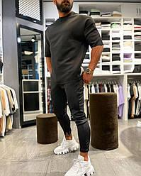 Мужской спортивный костюм черный лето/весна/осень. Футболка+штаны демисезонный спорт комплект 52