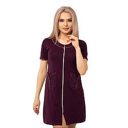 Легкий жіночий халат однотонний для весни і літа на блискавці. DI Color №6362, р. 2XL-5XL