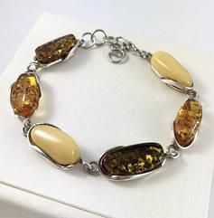 Браслет серебряный с янтарем 1040BRC-mix