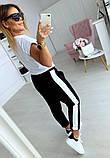 Женский летний модный спортивный костюм черный-белый с принтом  тренд 2021, фото 2