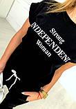 Женский летний модный спортивный костюм черный с принтом  тренд 2021, фото 2