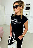 Жіночий літній модний спортивний костюм чорний з принтом тренд 2021, фото 3