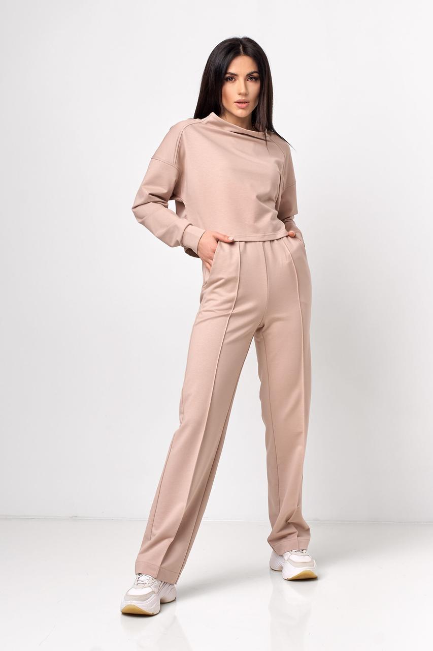Модный спортивный костюм женский 2021  цвет: бежевый, размер: 42, 44, 46, 48