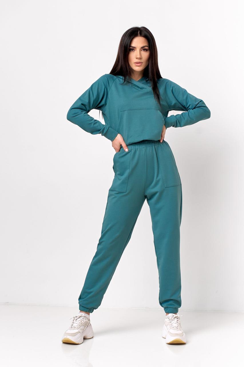 Модный спортивный костюм женский 2021  цвет: морской, размер: 42, 44, 46, 48