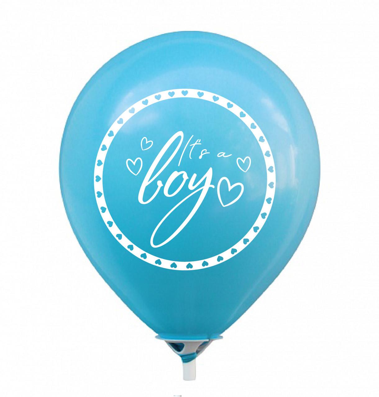 """Латексна кулька 12"""" блакитна з двостороннім білим малюнком """"it's a boy"""" (КИТАЙ)"""