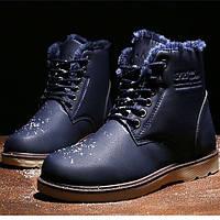 Мужские кожаные зимние ботинки искусственный мех модель 0483