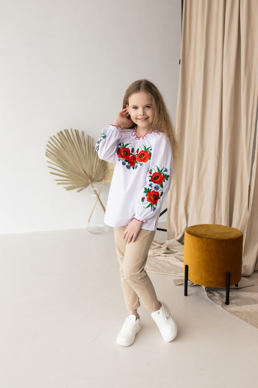 """Детская блуза вышиванка """"Маковое поле"""""""