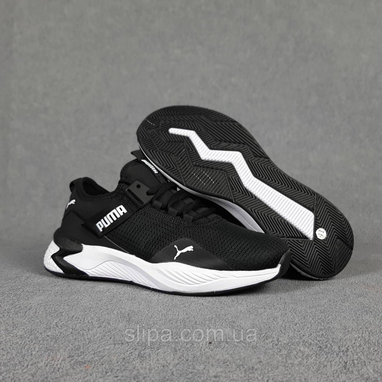 Чёрные кроссовки Puma в сетку на белой подошве | Вьетнам | сетка + пена