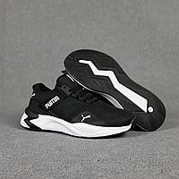 Чёрные кроссовки Puma в сетку на белой подошве | Вьетнам | сетка + пена, фото 1