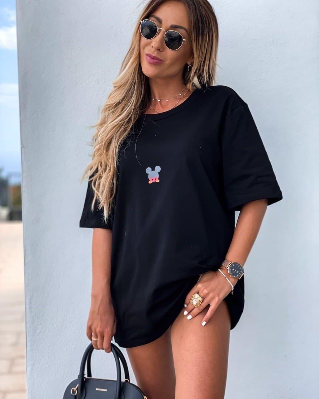 Стильная черная женская туника-футболка с принтом Мики-маус