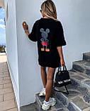 Стильная черная женская туника-футболка с принтом Мики-маус, фото 3