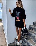 Стильная черная женская туника-футболка с принтом Мики-маус, фото 2