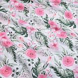 """Отрез муслина """"Розовые розочки и анемоны с вычурными листьями"""" зелёные на белом, размер 90*160 см, фото 2"""