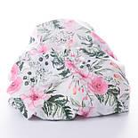 """Отрез муслина """"Розовые розочки и анемоны с вычурными листьями"""" зелёные на белом, размер 90*160 см, фото 3"""