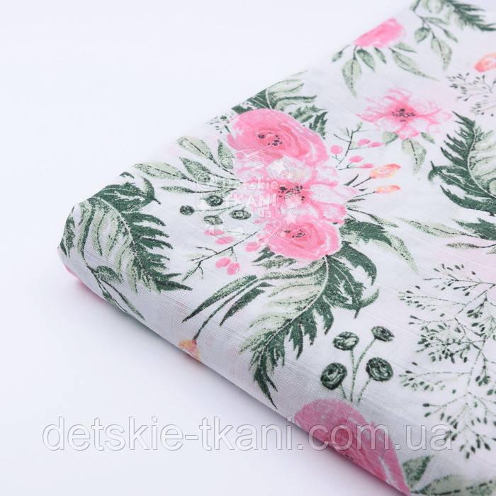 """Отрез муслина """"Розовые розочки и анемоны с вычурными листьями"""" зелёные на белом, размер 90*160 см"""