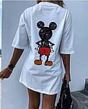 Стильная белая женская туника-футболка с принтом Мики-маус, фото 3