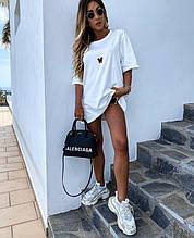 Стильная белая женская туника-футболка с принтом Мики-маус