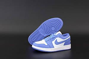 Голубые низкие кроссовки Nike Air Jordan 1 Retro Low Blue White (Бело-синие кроссовки Найк Аир Джордан)