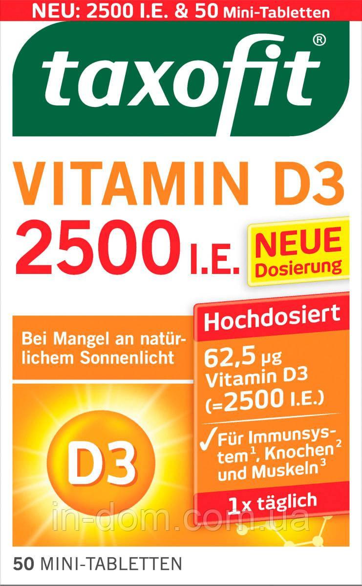 Taxofit Vitamin D3 Mini-Tabletten Витамин D3 таблетки для прочности костей и иммунной системы 50 шт.