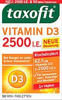 Taxofit Vitamin D3 Mini-Tabletten Витамин D3 таблетки для прочности костей и иммунной системы 50 шт., фото 1